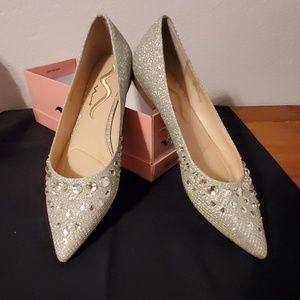 Nina silver diamond flat shoes
